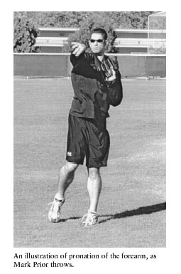 An illustration of pronation of the forearm, as Mark Prior throws