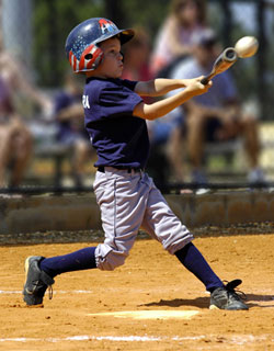 hitting a baseball This video presents a great baseball hitting drill for teaching youth baseball  players how to hit the ball to all different parts of the field using a batting tee,  players.