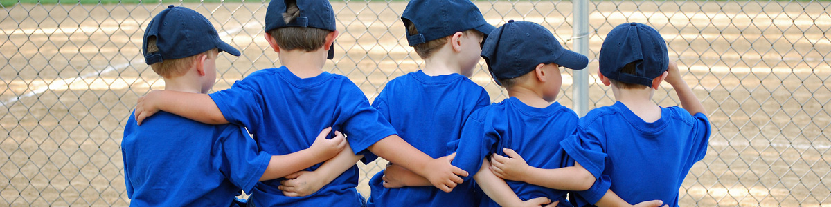 Youth baseball team on a bench